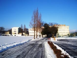 雪の降り積もった仁短キャンパスの写真