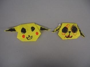 折り紙で作ったピカチュウの写真