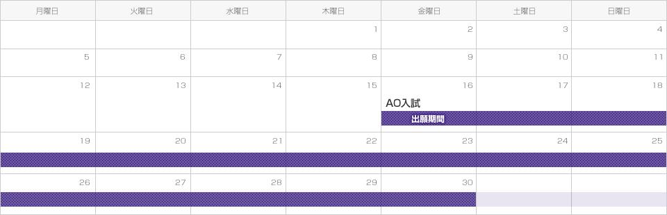 【AO入試】出願期間は平成28年9月16日(木)から9月30日(金)まで。
