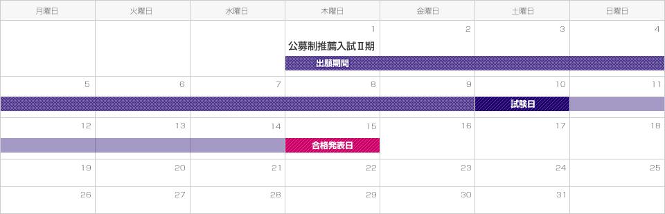 【公募制推薦入試Ⅱ期】出願期間は平成28年12月1日(木)から12月9日(金)。試験日は平成28年12月10日(土)。合格発表は平成24年12月18日(木)。
